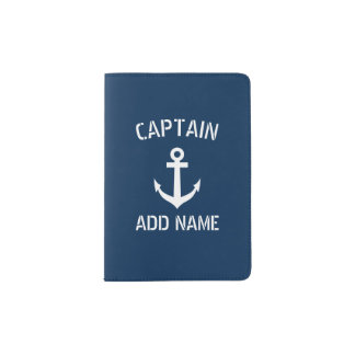 Personalized boat captain nautical passport holder