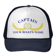 Personalized Boat Name Anchor Motif Captains Trucker Hat at Zazzle
