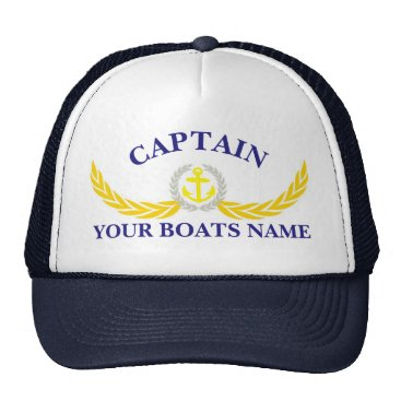 customthreadz Personalized boat name anchor motif captains trucker hat