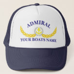 """Personalized boat name anchor motif captains trucker hat<br><div class=""""desc"""">Personalize this boats anchor and laurel leaf nautical themed yachting sailors captain hat with the name of your sail or motor boat and customize the captains text template with another member of your ships crew. Customize the color of the text to coordinate with the color of your cap.</div>"""