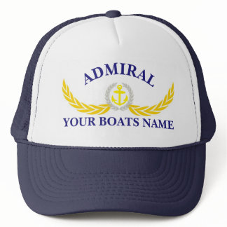 Personalized boat name anchor motif captains trucker hat