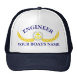 Personalized boat name anchor motif engineers trucker hat