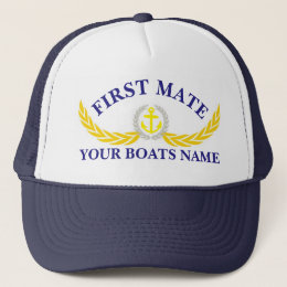 Personalized boat name anchor motif first mate trucker hat