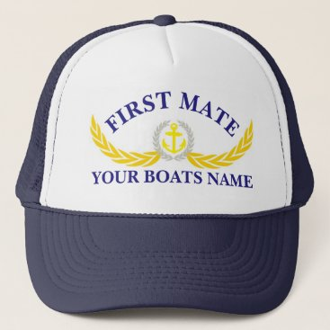 customthreadz Personalized boat name anchor motif first mate trucker hat