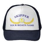 Personalized boat name anchor motif skipper trucker hat