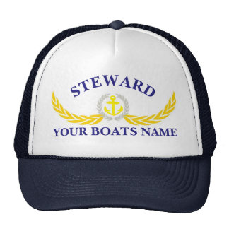 Personalized boat name anchor motif steward trucker hat