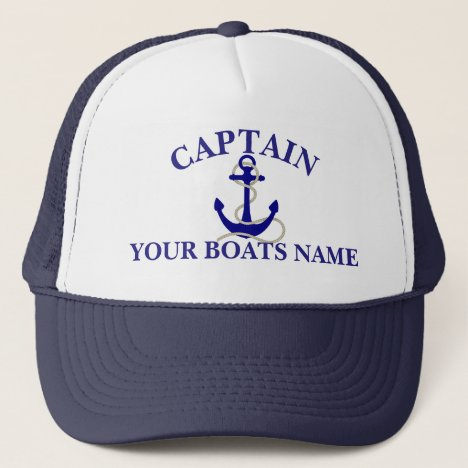 Personalized boat name nautical anchor captains trucker hat