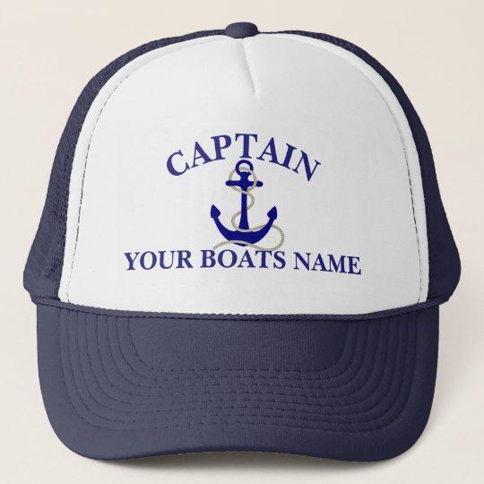 dd68fcc8 Personalized boat name nautical anchor captains trucker hat | Zazzle.com