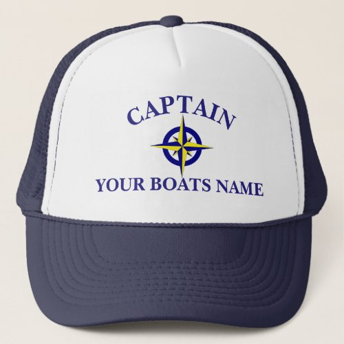 Personalized boat name ships compass captains trucker hat