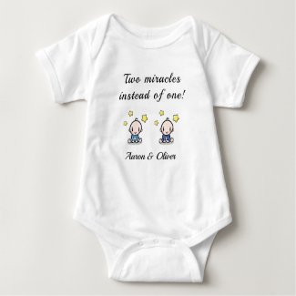 personalized bodysuit for twin baby boys,