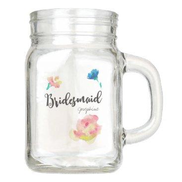 Beach Themed Personalized Bohemian style Bridesmaid gift Mason Jar