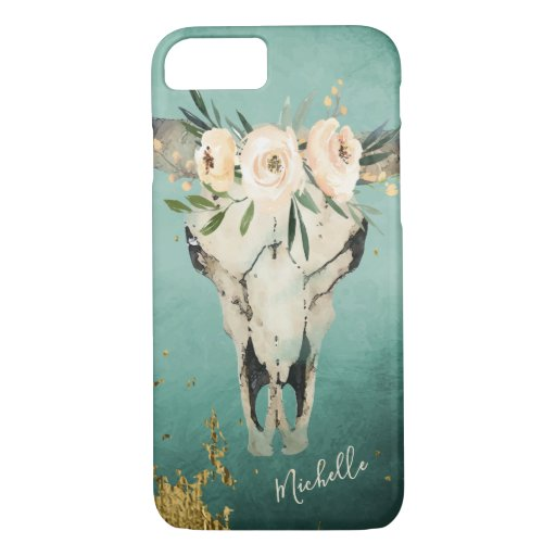 Personalized Boho Cow Skull, Flowers on Turquoise iPhone 8/7 Case