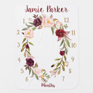 Personalized Boho Flor Wreath Monthly Baby Blanket