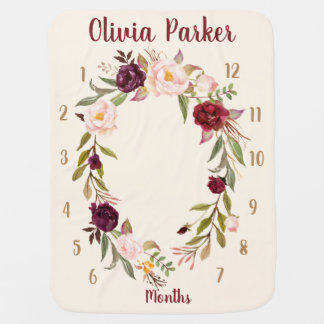 Personalized Boho Floral Monthly Baby Blanket Gift