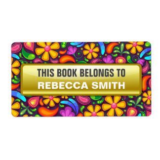 Personalized Book Labels | Floral Bookplate Label
