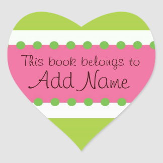 Personalized Book Lable Heart Sticker