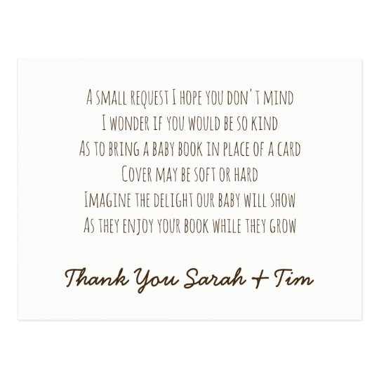 personalized book request poem card baby shower zazzle com