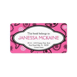 Personalized BookPlate Pink Paisley Pattern