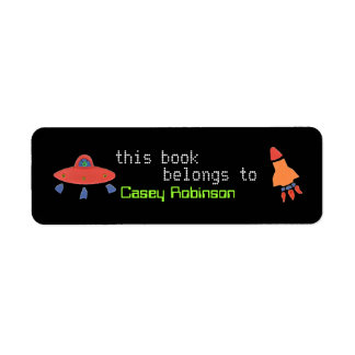 Personalized bookplate sticker with UFO & rocket