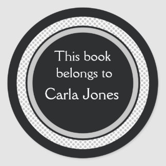 Personalized Bookplates:Black And Gray Polka Dots Classic Round Sticker