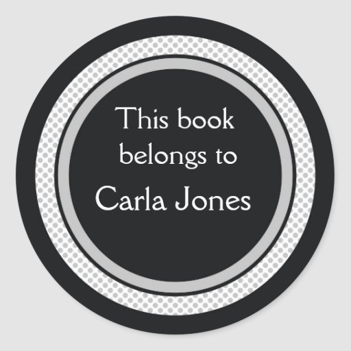 Personalized Bookplates:Black And Gray Polka Dots Sticker