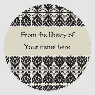 Personalized Bookplates - Black Damask Classic Round Sticker