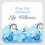 Personalized Bookplates -  Blue Flowers Square Sticker
