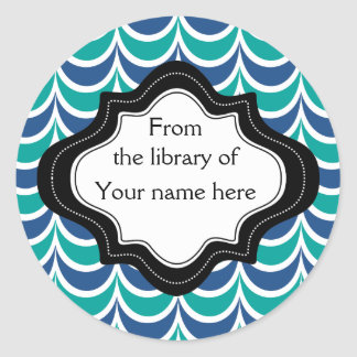 Personalized Bookplates|Blue Green  Wavy Stripes Classic Round Sticker