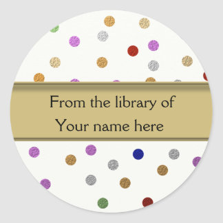Personalized Bookplates - Colorful Dots Classic Round Sticker
