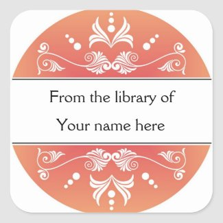 Personalized Bookplates - Colorful Flourishes Classic Round Sticker