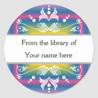 Personalized Bookplates - Colorful Flourishes Classic Round Sticker