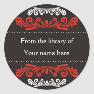 Personalized Bookplates - Colorful Flourishes sticker