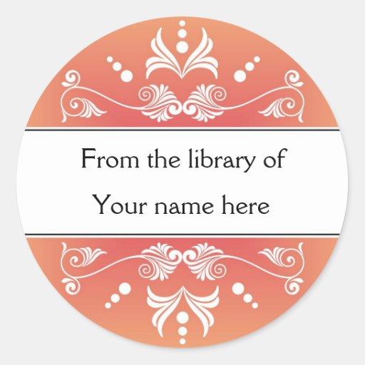 Personalized Bookplates - Colorful Flourishes Round Sticker