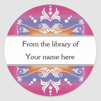 Personalized Bookplates - Colorful Library Classic Round Sticker