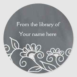 Personalized Bookplates - Floral Chalkboard Classic Round Sticker