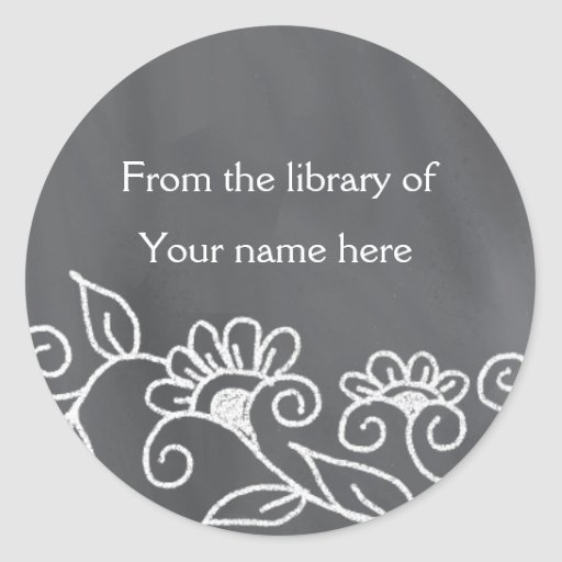 Personalized Bookplates - Floral Chalkboard Round Stickers