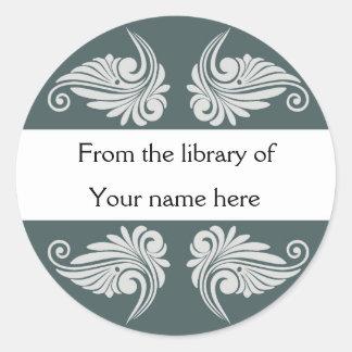 Personalized Bookplates - Flourishes Classic Round Sticker