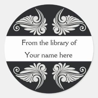 Personalized Bookplates - Flourishes Round Stickers