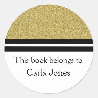 Personalized Bookplates   Gold Glitter Classic Round Sticker