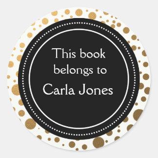 Personalized Bookplates | Gold Glitter Dots Classic Round Sticker