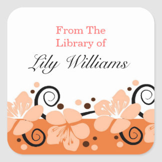 Personalized Bookplates - Orange/Coral Flowers