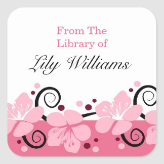 Personalized Bookplates - Pink Flowers Square Sticker