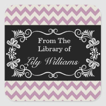 Personalized Bookplates - Purple Chevron Pattern