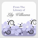 """Personalized Bookplates -  Purple Flowers<br><div class=""""desc"""">A modern floral design with a row of Lavender/Purple flowers with black swirls and dots is an attractive way to add color to your bookplate.. Custom bookplates can be changed to any other personal label for C.Ds, gifts, kids box labels, lunch box label, etc by just changing the text matter.To...</div>"""