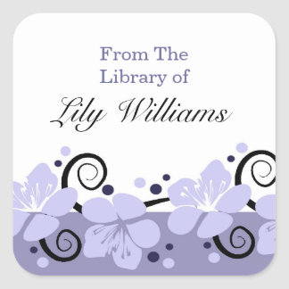Personalized Bookplates -  Purple Flowers