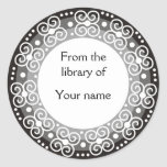 Personalized Bookplates :: Swirls & Dots Classic Round Sticker