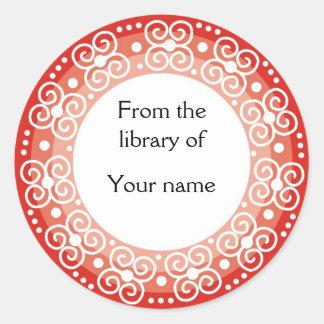 Personalized Bookplates :: Swirls & Dots Round Stickers