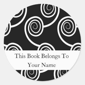 Personalized Bookplates -White Swirl On Black Classic Round Sticker