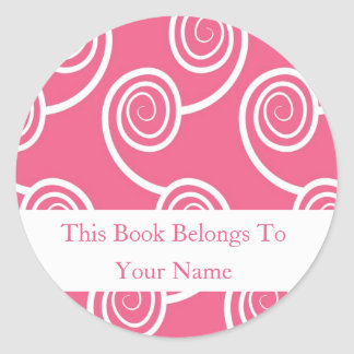 Personalized Bookplates -White Swirl On Pink Classic Round Sticker