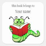 Personalized Bookworm Bookplate Sticker Square Sticker